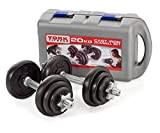 York Fitness Jeu d'halteres en fonte de 20 kg avec valise, noir/argent